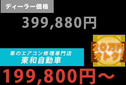 ディーラー価格399,880円が東和自動車だと199,800円~。20万円もお得!