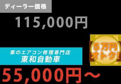 ディーラー価格115,000円が東和自動車だと55,000円~。6万円もお得!